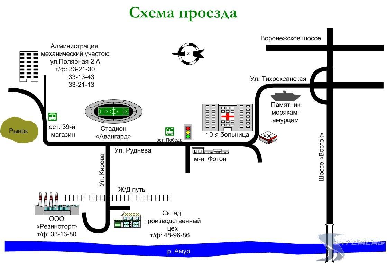 Схема проезда к ЗАО СП Стрежень